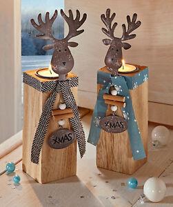 Hervorragend Das Bild Wird Geladen 2 Teelichthalter Kerzenstaender Metall Elch HOLZ XMAS  Weihnachtsdeko