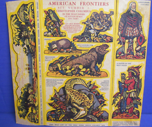Quaker-Puffed-Wheat-1930-039-s-Cereal-Box-cut-outs-American-Frontiers-1-amp-2