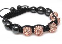 Quality Crystal Rhinestone Golden Shamballa Beaded Hematite Hip Hop Bracelet 12
