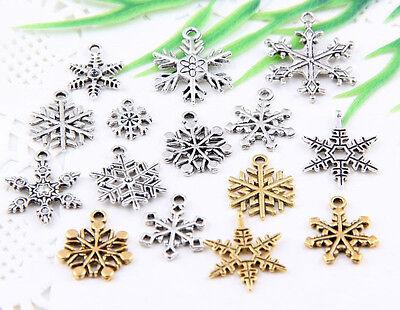 "15Pcs Mixed Tibetan Silver(Lead-Fre)""Christmas Snowflake""Charms Pendant"
