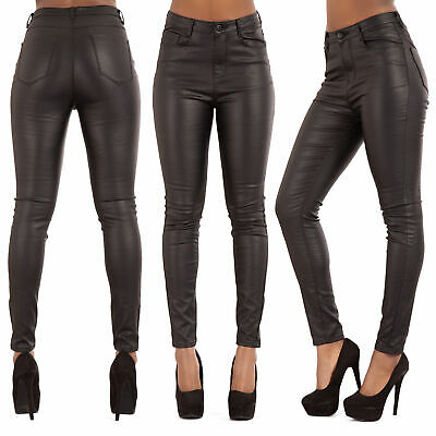 Womens High Waist Stretch Leather Look Jeans 10-20