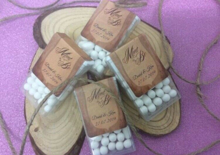 100x Personalised rustic themed wedding favours Tic Tacs Mint to be