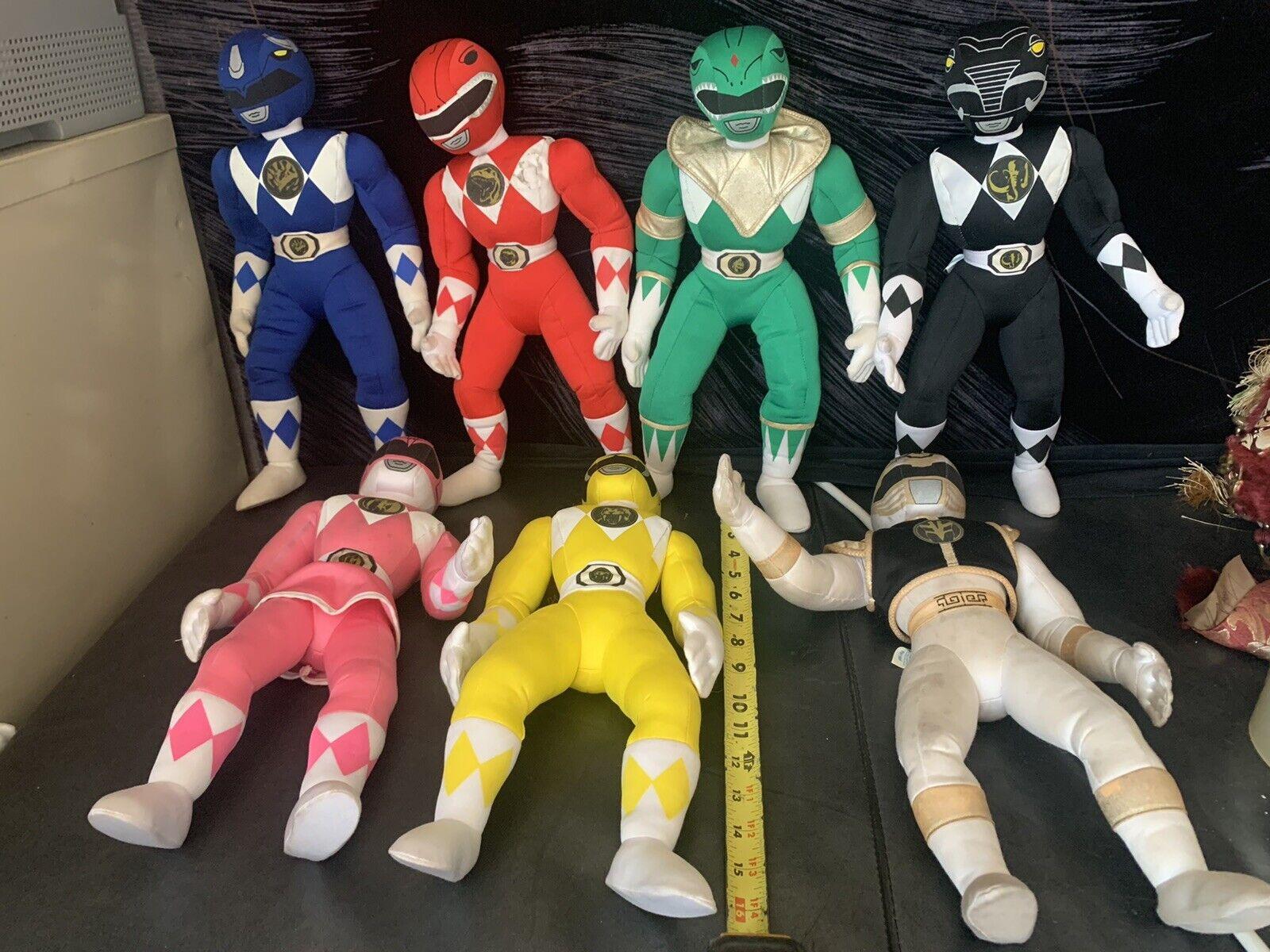 Lote de (7) Mighty Morphin Power Rangers-Niño Dimention - 18 pulgadas -1994 - difícil de encontrar