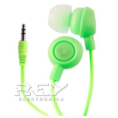 Generoso Auriculares Fruit Smiles Universal 3,5mm Para Smartphone Verde Headphone S23