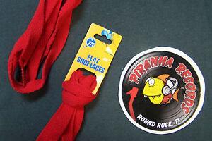 Red-Thin-Flat-45-034-x-3-8-034-5-8-034-JN-Shoelaces-Shoe-Strings-Piranha-Records