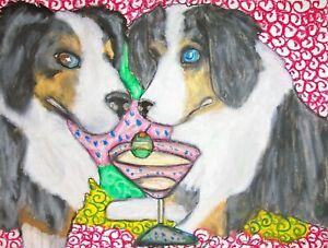 AUSTRALIAN-SHEPHERD-Drinking-a-Martini-Dog-Pop-Vintage-Art-8-x-10-Signed-Print