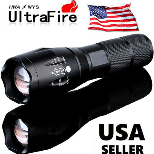 Tactical 15000LM T6 Power LED Zoomable Flashlight 18650/&Charger USA