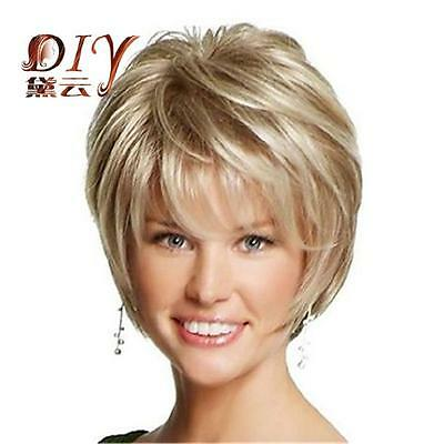 Hot Sale Women Short Charming Light Blonde Straight Cosplay Party Full Hair Wig