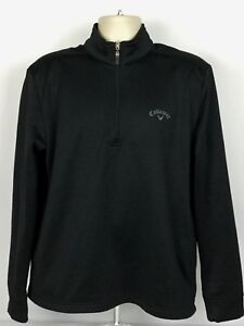 Callaway-Golf-Mens-Medium-M-Long-Sleeve-1-2-Zip-Pullover-Jacket-Black-Polyester