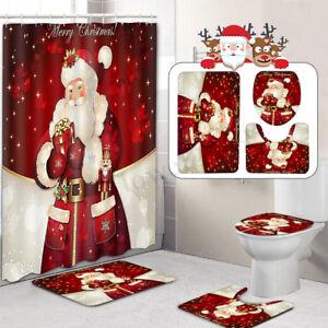 Details About 4Pcs Christmas Santa Claus Non Slip Toilet Pad Cover Bath Mat Shower Curtain Set