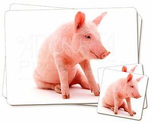Lindo-Rosa-Cerdo-Individual-2x-Manteles-individuales-2x-Posavasos-Juego