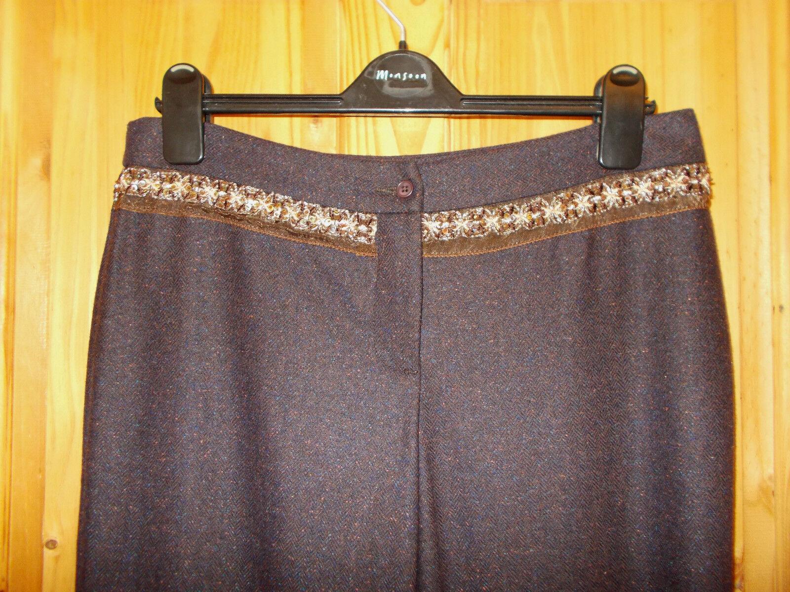 United coloreS OF BENETTON Marronee Marronee Marronee Viola Blu Arancione Lana Seta Pantaloni 44 10-12 946ccb