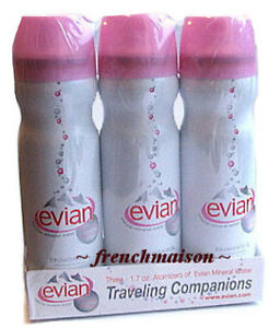 10-3-pack-1-7oz-Evian-Mineral-Water-Spray-Garnier-Thiebaut-French-Tea-Towel-GIFT