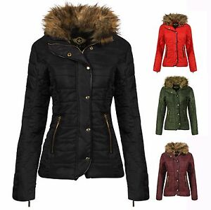 LADIES JACKET NEW WOMENS QUILTED FUR COLLAR PADDED BUTTON ZIP COAT ...