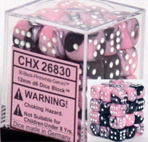 Chessex Dice Gemini Black Pink w// White d6 Sets 36 12mm Six Sided Die CHX 26830