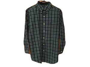 CHAPS-RALPH-LAUREN-Mens-Shirt-Sz-M-Easy-Care-Black-amp-Green-Plaid-Button-Down-EUC