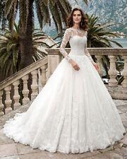White/Ivory Lace Wedding Dresses Bridal Gown Custom Size 4 6 8 10 12 14 16 18+++