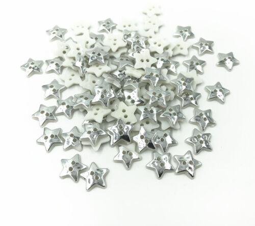 200X Silber Stern Nähen Harz Knöpfe Scrapbooking Dekoration Kunsthandwerk 13mm