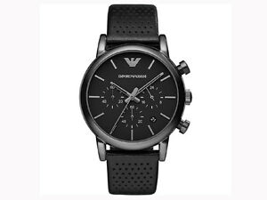 Emporio-Armani-Black-Leather-Strap-Chronograph-original-Watch-AR1737-free-ship
