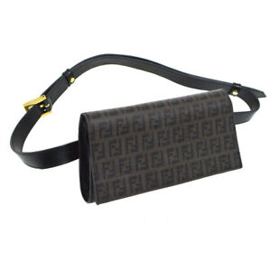 70938dc41eb0 Auth FENDI Zucca Waist Bum Bag Brown Black PVC Leather Italy Vintage ...