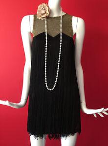 con abito frange 1920s Gatsby frange Topshop Flapper Gold Black Charleston con SnFwqzPq