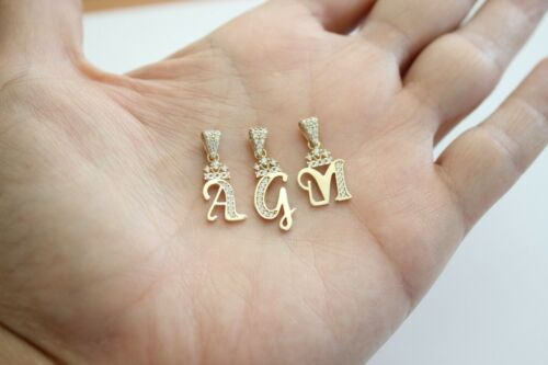 10K Yellow Gold Crown Initial Letter Pendant Charm with CZ for Ladies Woman Girl