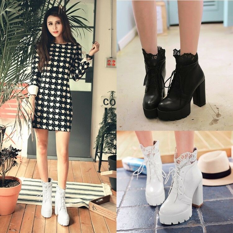Women's Lace Ankle Boots Platform High Heels Faux Leather Round Toe Casual shoes
