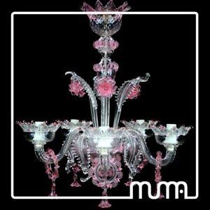 Lampadari Vetro Di Murano.Dettagli Su Grande Lampadario Vetro Di Murano Trasparente E Rosa Blown Murano Glass Light