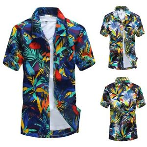 Men-Hawaiian-Summer-Short-T-Shirt-Sports-Beach-Quick-Dry-Blouse-Top-Blouse-2019