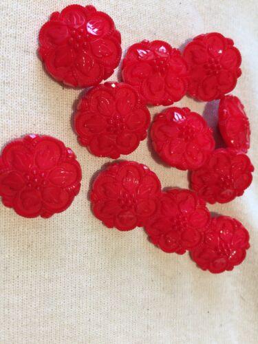 Red Large Vintage Design Shank Plastic Buttons