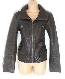 Women-039-s-Vintage-ONLY-Brown-100-Leather-Bomber-Flying-Jacket-Coat-Size-MEDIUM