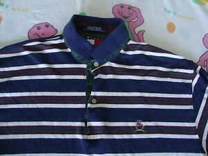 3b2e0dec5869 Vintage TOMMY HILFIGER Stripe Navy 90 s Rap Hip Hop Long Sleeve Polo ...