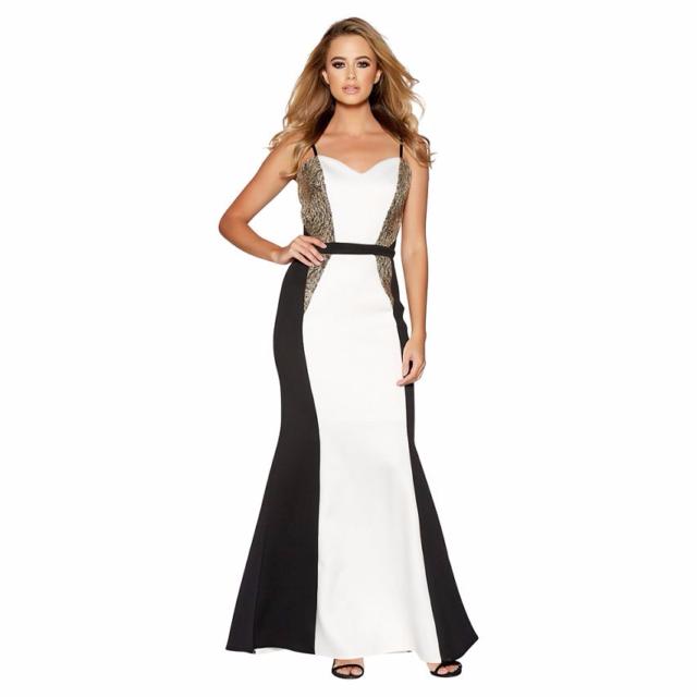 5f05310bbf5 Quiz Cream And Black Embellished Fishtail Maxi Dress UK Size 18 TD172 KK 01