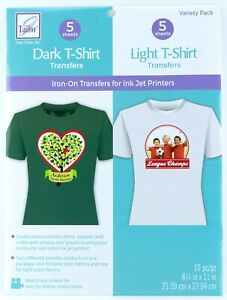 June Tailor Dark & Light T-Shirt Iron-On Transfers for Ink Jet Printers 10pc