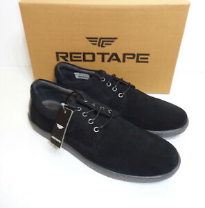 red tape mens leather black lace up casual formal suede