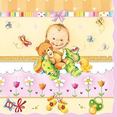 Servietten  Napkins 20 St.Pack Serviettentechnik Baby Geburt Taufe  rosa