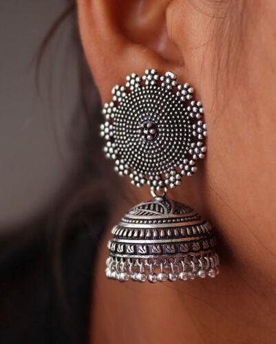 Combo Jaipuri oxydé Plaqué Argent Femmes JHUMKI Boucles d/'oreilles set argent /& noir