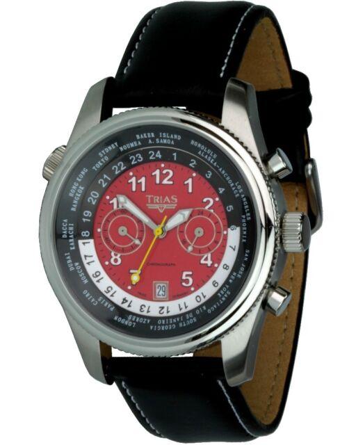 Trias Orologio Mondiale Modello Al Quarzo Cronografo Cronometro da Uomo
