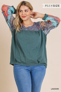 Umgee-Paisley-Floral-Print-Long-Sleeve-Knit-Top-Plus-Size