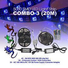 20M 5050SMD RGB 1200 LED Strip Light Kit - 44 Key Remote 2 Outlet 5A Power Combo