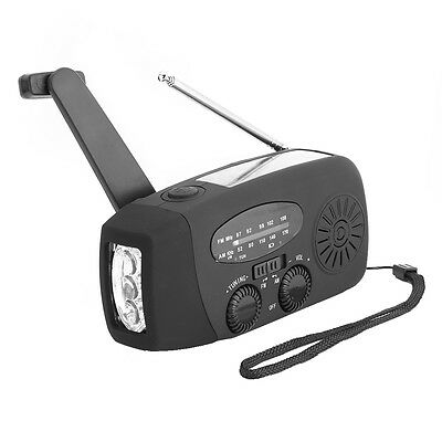 Emergency Solar Hand Crank AM/FM Radio LED Flashlight Mobilephone Charger