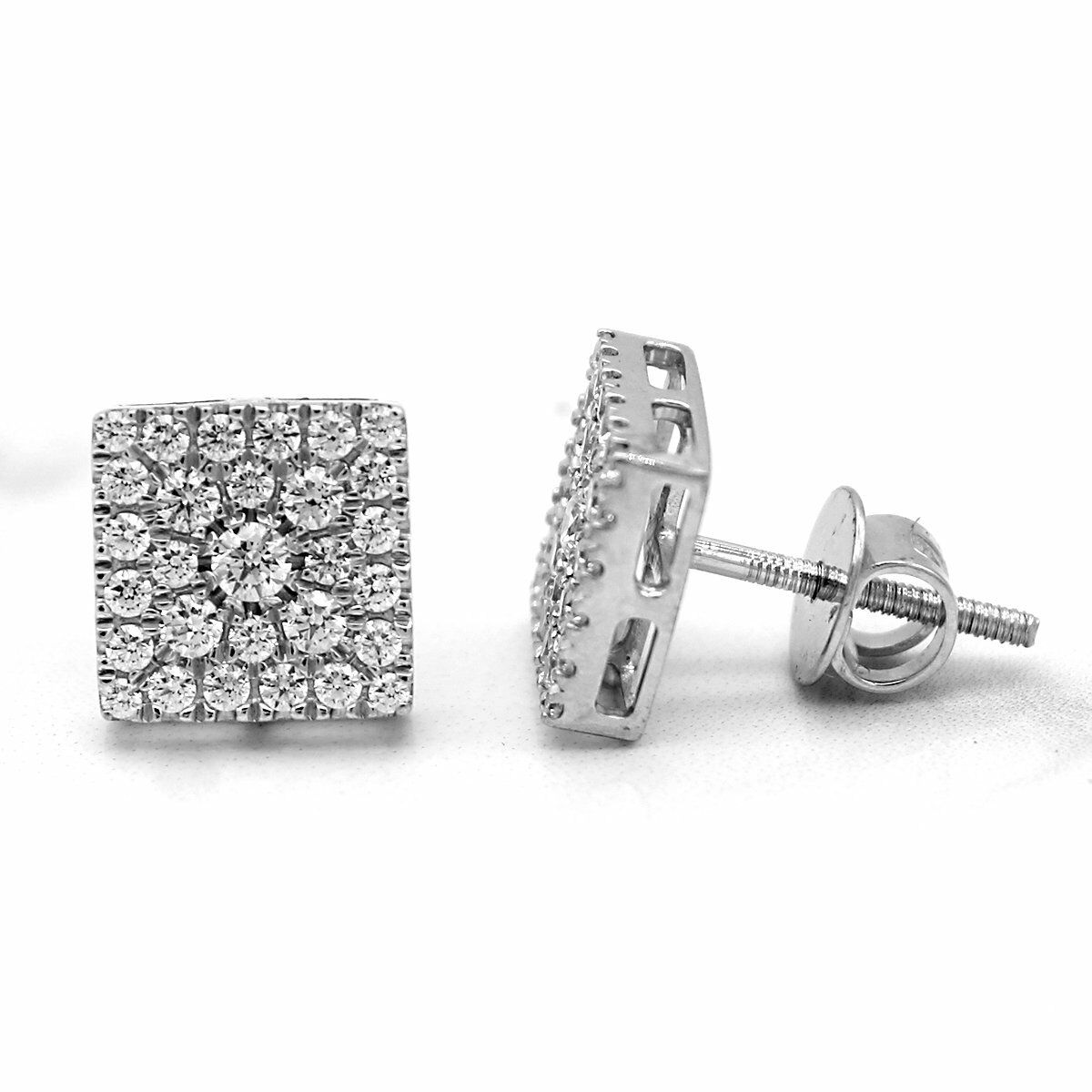 Certified 1.00ct Natural Diamond Cluster Earring Square shape 10kt gold