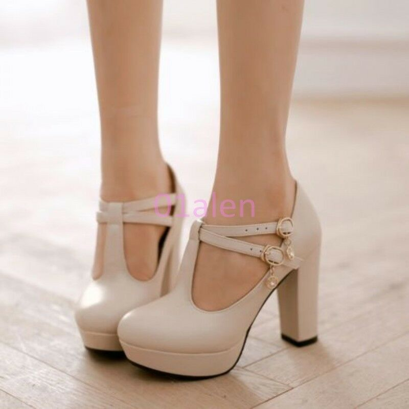 Lady's Retro high Thick Heel T Bar Strap Mary Janes Wedding shoes Pump PLus Size