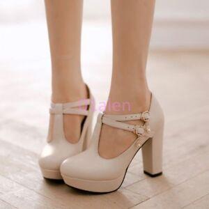 Image Is Loading Yi Women Retro High Chunky Heel T Strap