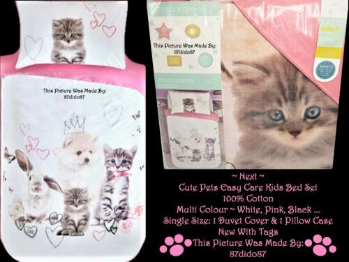 Next Cute Pets Girls Animal Print Cat Puppy Duvet Quilt Cover Pillowcase Bed Set