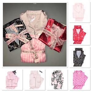 scarpe di separazione come scegliere vendita all'ingrosso Dettagli su Victoria's Secret Afterhours Raso Set Pigiama Icona Righe Rosa  Xs S M L