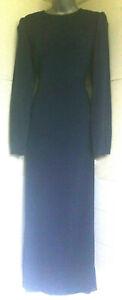Laura-Ashley-Vintage-anos-80-Manga-Larga-Vestido-100-Seda-cottagecore-azul-marino-forrado-12