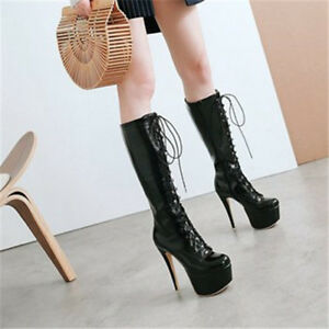 a4957865fe4 Women Lace up Platform Over the Knee Boots Slim High Heel Mid Calf ...