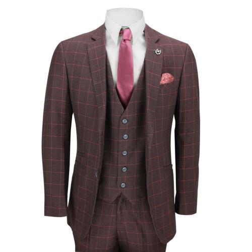 Maroon Mens Smart Tailored 3 Check Uk Griglia Fit pezzi Retro Size Suit Vintage TABIrAq6