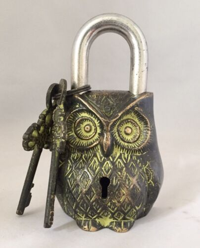 Owl Head LOCK Big Padlock brass keys antique look Owl Pad Vintage lion